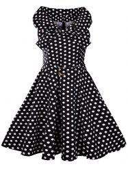 Bowknot Collar Polka Dot Print 50s Dress