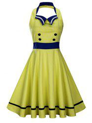 Backless Sleeveless Sailor Collar Pin Up Dress