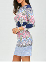 Geometric Print Bodycon Dress - COLORMIX