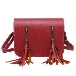 Flap Twin Tassel Crossbody Bag - Rouge