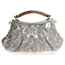 Metal Trim Beaded Evening Bag