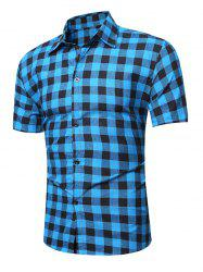 Short Sleeve Plaid Linen Shirt
