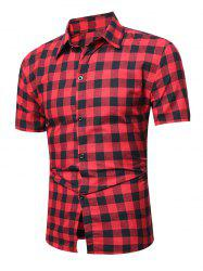 Short Sleeve Plaid Linen Shirt - RED