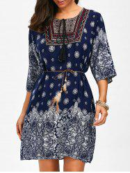 Self Tie Printed Embroidered Dress - CERULEAN