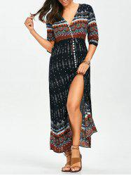 Tribal Print Split Button Up Bohemian Maxi Dress - COLORMIX