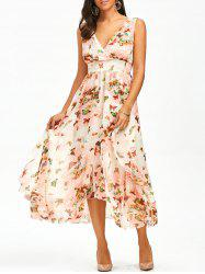 Butterfly Print Ruffle Empire Waist Dress