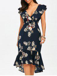 Mermaid Plunge Floral Backless Tea Length Dress -