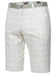 Zip Fly Checked Bermuda Shorts
