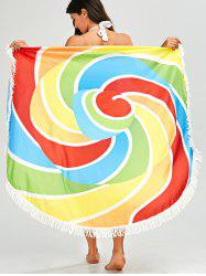 Rainbow Color Fringed Round Beach Throw