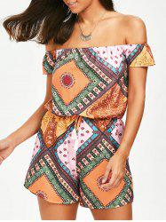 Tribal Print Off The Shoulder Romper