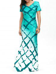 Plaid Print Short Sleeve Ombre Maxi Prom Dress - COLORMIX