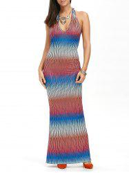 Low Cut Halter Fitted Maxi Evening Dress