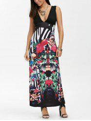 Tribal Print Empire Waist Maxi Tea Dress