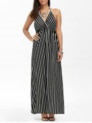 Halter Neck Low Back Empire Waist Striped Long Evening Dress