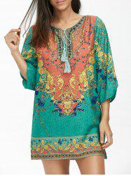 Baroque Print Tassel Tunic Dress