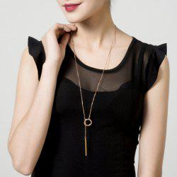Bar Circle Minimalist Lariat Necklace - ROSE GOLD