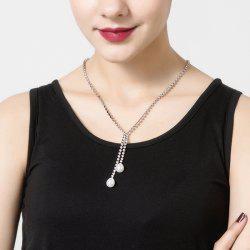 Water Drop Faux Pearl Rhinestone Necklace