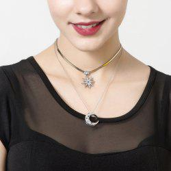 Rhinestoned Moon Star Layered Necklace
