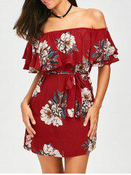 Belted Off The Shoulder Flounce Summer Dress - RED