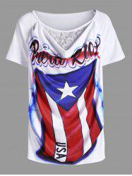 Lace Panel Distressed American Flag Airbrush T-Shirt