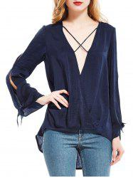 Plunging Neck Split Sleeve High Low Blouse