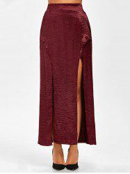 Elastic Waist High Slit Satin Maxi Skirt