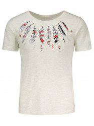 Feather Print Slim Fit T-Shirt