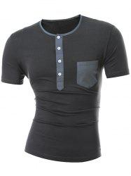 Short Sleeve Half Button and Pocket Design T-Shirt