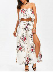Strapless Crop Top and Slit Wide Leg Pants