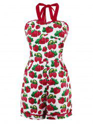 Halter Strawberry Print Lace Trim Romper