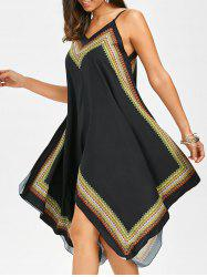 Boho Print Handkerchief Slip Dress - BLACK