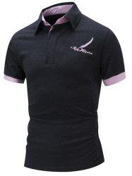 Feather Embroidered Color Block Polo Shirt