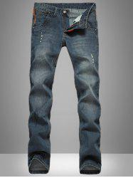 Retro Style Fitting Simple Design Denim Jeans For Men - DEEP BLUE