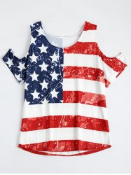 Distressed Cold Shoulder Patriotic American Flag Tee Shirt - COLORMIX