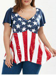 Patriotic Plus Size American Flag Tunic Top - COLORMIX