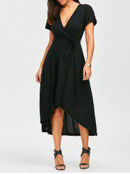 Plunging High Low Tea Length Surplice Dress - BLACK