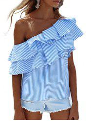 Layer Flounce Striped Skew Collar Blouse - BLUE STRIPE
