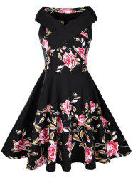 Floral Rose Print Semelle A Line 50s Dress - Noir