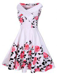 Floral Rose Print Sleeveless A Line 50s Dress - WHITE