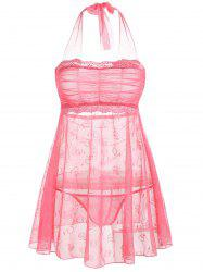 Mesh Sheer Halter Intimate Dress