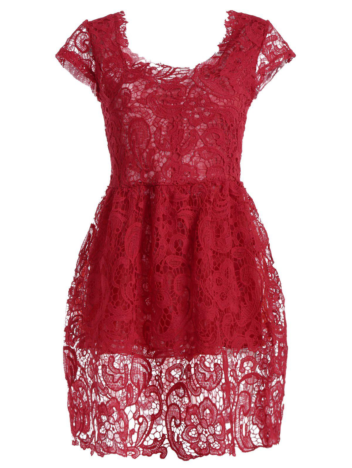 Hot High Waist Crochet Lace Short Cocktail Dress