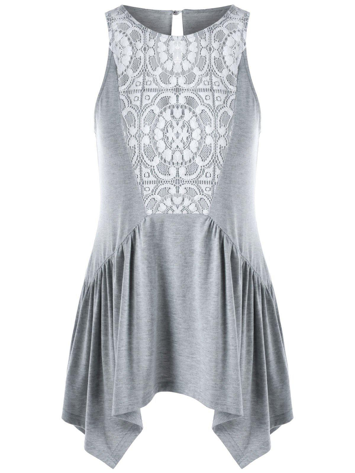 Trendy Lace Insert Swing Tank Top