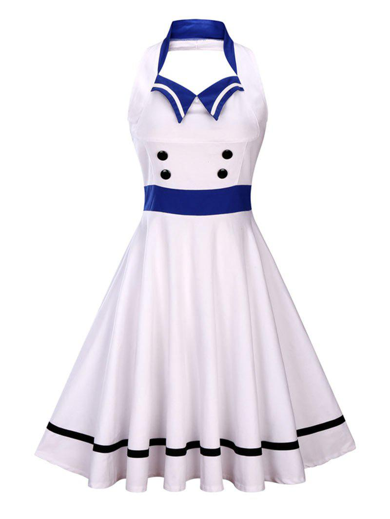 Backless Sleeveless Sailor Collar Midi Pin Up DressWOMEN<br><br>Size: S; Color: WHITE; Style: Novelty; Material: Polyester; Silhouette: A-Line; Dresses Length: Mid-Calf; Neckline: Sailor Collar; Sleeve Length: Sleeveless; Embellishment: Button; Pattern Type: Others; With Belt: No; Season: Summer; Weight: 0.4000kg; Package Contents: 1 x Dress;