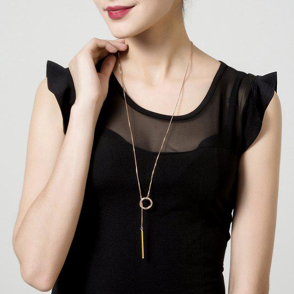 Bar Circle Minimalist Lariat NecklaceJEWELRY<br><br>Color: ROSE GOLD; Item Type: Pendant Necklace; Gender: For Women; Metal Type: Alloy; Style: Trendy; Shape/Pattern: Round; Length: 84.5cm; Weight: 0.0400kg; Package Contents: 1 x Necklace;