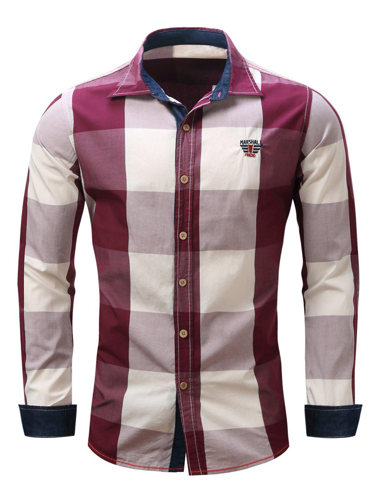 Turn-Down Collar Plaid Pattern Long Sleeve Shirt For MenMEN<br><br>Size: XL; Color: RED; Shirts Type: Casual Shirts; Material: Cotton,Polyester; Sleeve Length: Full; Collar: Turn-down Collar; Weight: 0.295kg; Package Contents: 1 x Shirt;