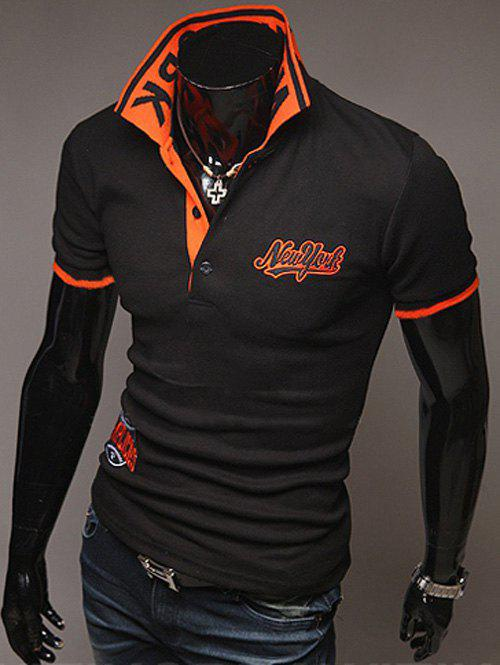 Image of Fashion Style Polo Collar Embroidery Letters Embellished Short Sleeves Polyester Polo Shirt For Men