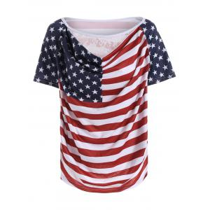 Lace Panel Distressed American Flag T-Shirt - Colormix - Xl