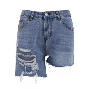 Asymmetric Ripped Denim Shorts