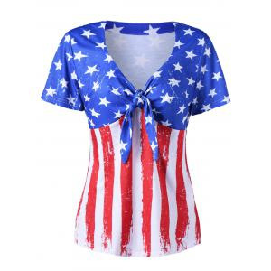 Empire Waist American Flag V Neck T-Shirt - Colormix - M