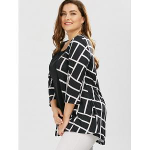 Plus Size Geometric Smock Blouse - WHITE AND BLACK 5XL